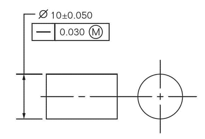 Straightness Axis MMC Drawing Callout