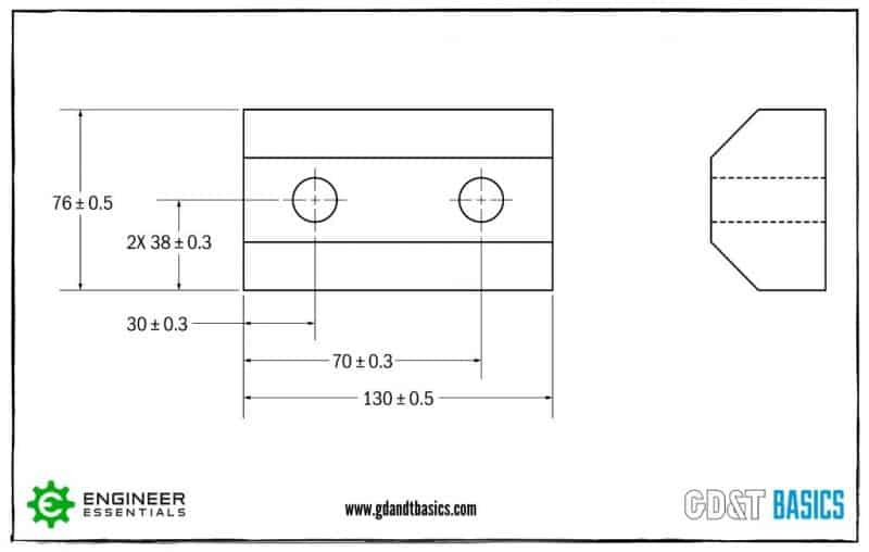 Coordinate Dimensions shown on a drawing of a part